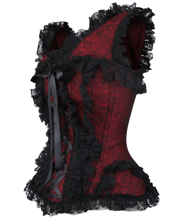 Dalis Maroon Brocade Victorian Lace Up Corset