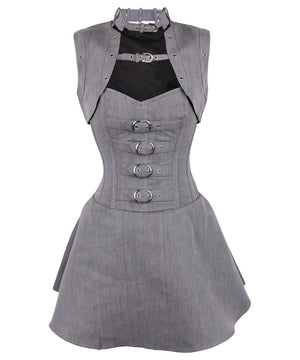 Cales Herringbone Overbust Corset Dress with Shrug