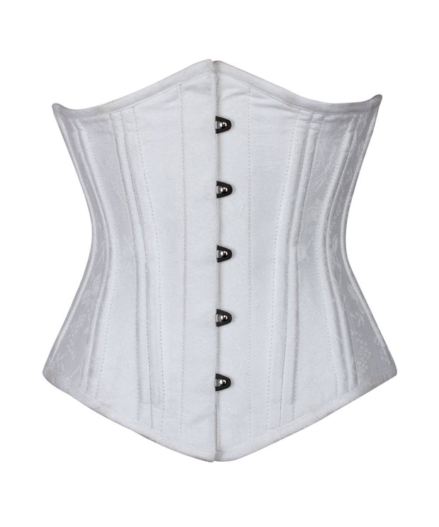 SOLD OUT - Ellylw Waist Training White Brocade Underbust Corset