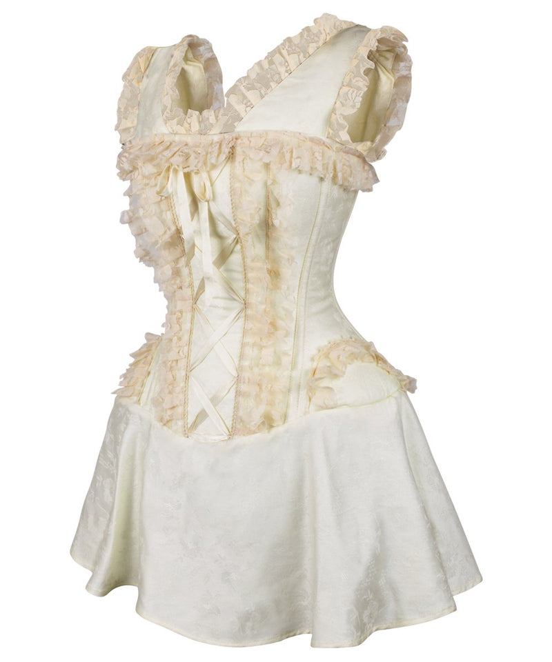 Dallis Ivory Brocade Victorian Lace Up Corset Dress