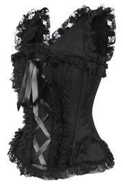 Genisa Black Brocade Victorian Lace Up Corset