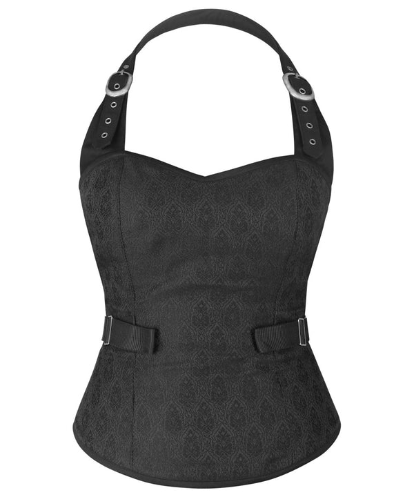 Canens Brocade Gothic Corset Top with Fan Lacing