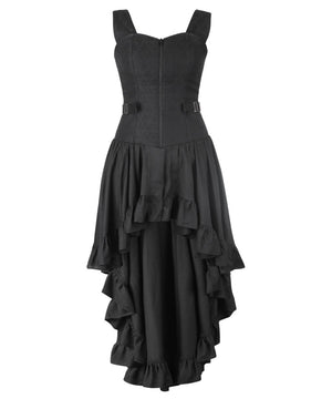 Callida Black Brocade Mullet Dress with Fan Lacing