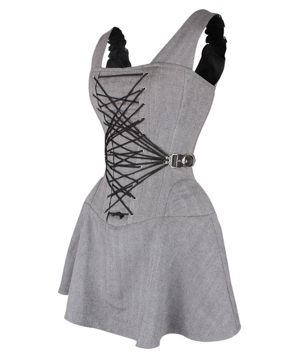Dalyell Cotton Herringbone Lace Up Corset Dress with Fan Lacing