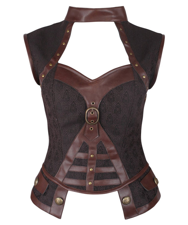 Genna Steampunk Brown Corset Top with Halter Neck