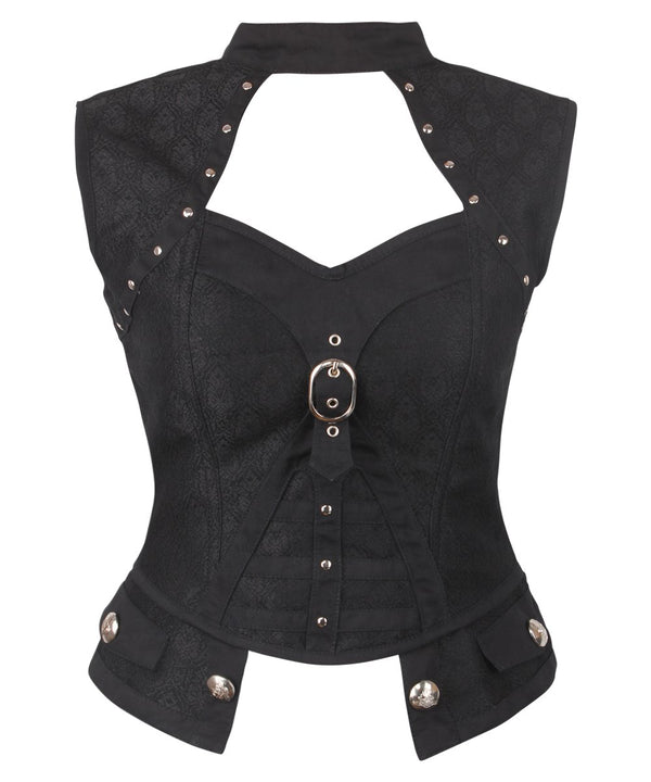 Bryssa Gothic Black Corset Top with Halter Neck