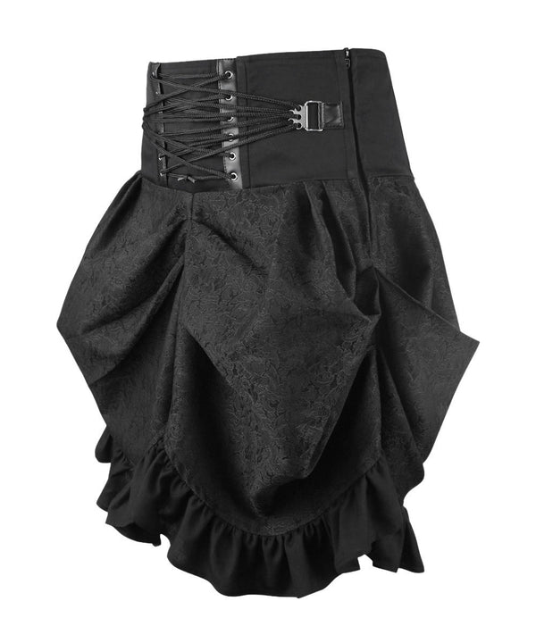 Gytha Gothic Black Brocade Skirt