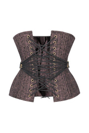 Bubona Curvy Waist Training Brown Brocade Corset with Fan Lacing