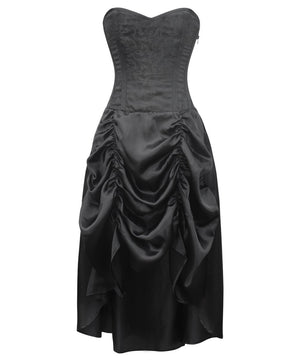 Gilda Gothic Black Corset Dress with Gathered Skirt