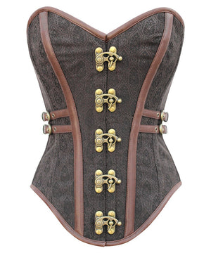 Instant Shape Brocade Steampunk Corset with Side Buckles