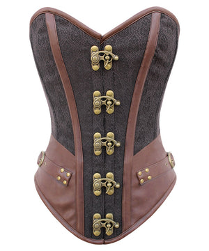 Instant Shape Overbust Steampunk Corset with Curved Hem