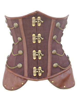 Instant Shape Cotton Steampunk Corset with Chains