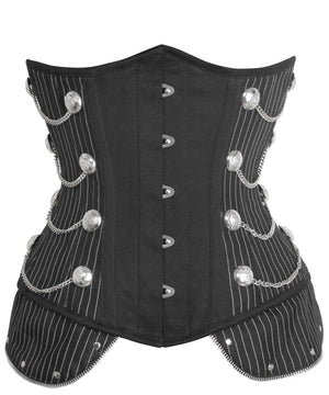 Instant Shape Pinstripe Steampunk Corset with Chains