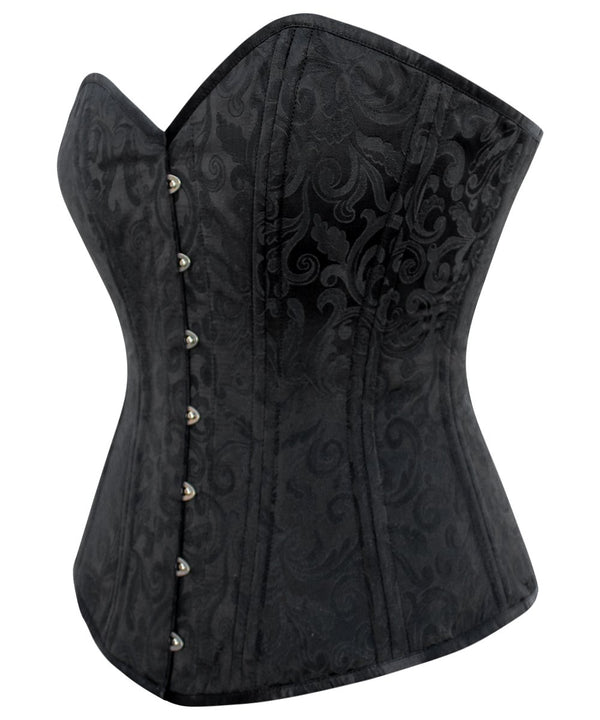 Annaliese Longline Black Brocade Plus Size Waist Training Corset