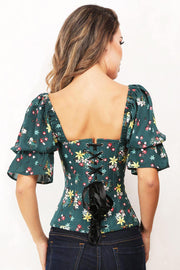 Grazia Floral Cotton Summer Corset with Attached Sleeve