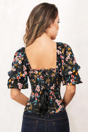 Jimmi Floral Print Summer Corset with Attached Sleeve