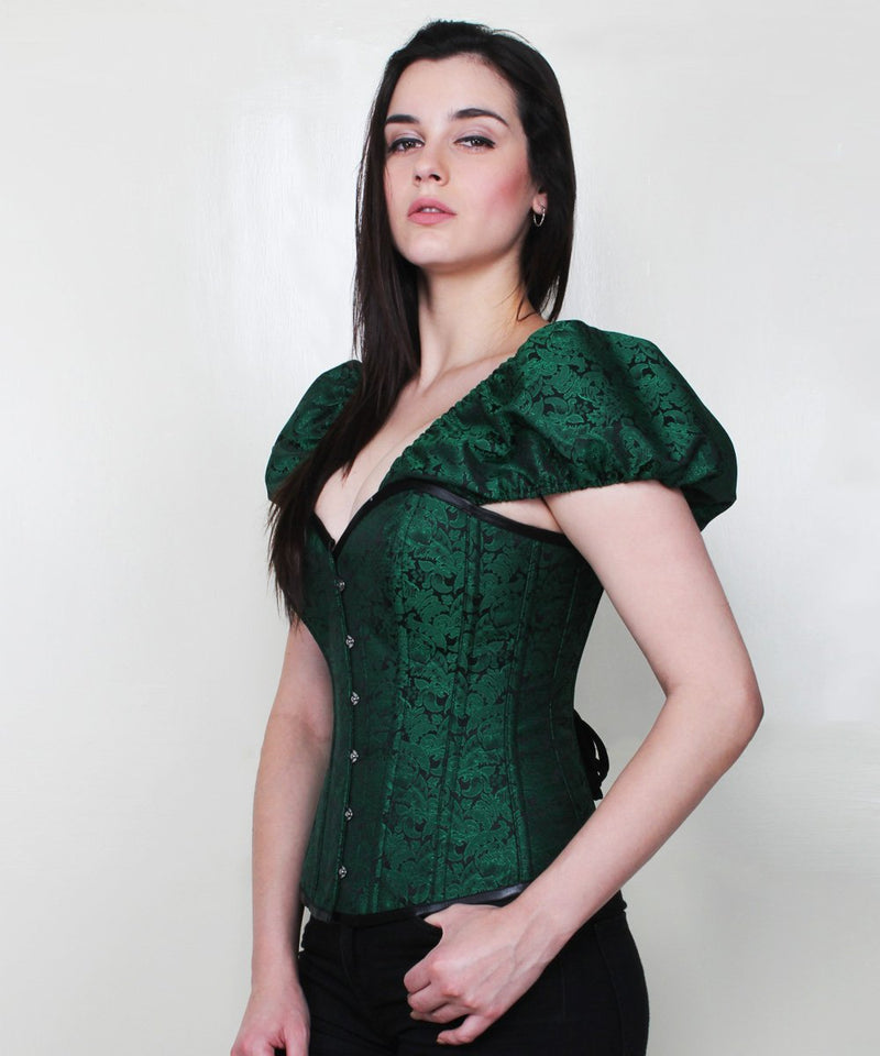 Jenesis Brocade Gothic Corset with Short Sleeve