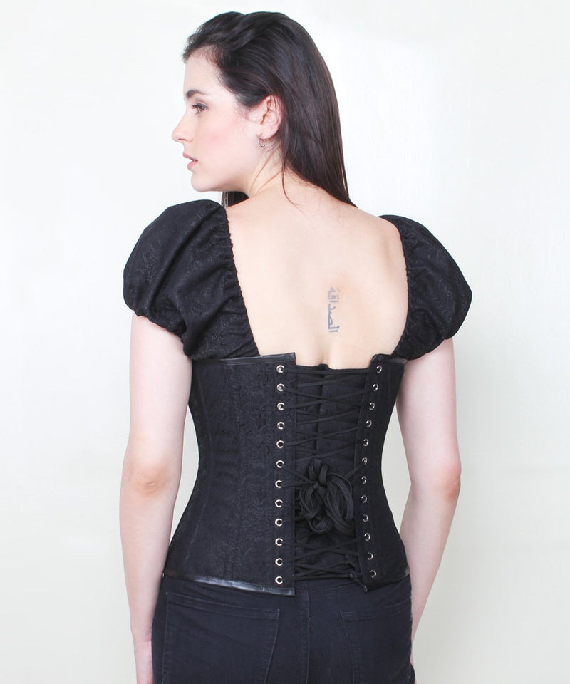 Harlyn Short Sleeve Gothic Black Brocade Corset
