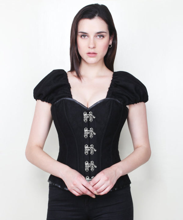 Althea Gothic Black Corset with Clasp Opening