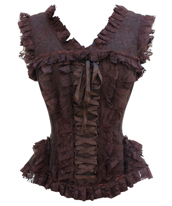 Dorsey Brown Brocade Victorian Inspired Corset