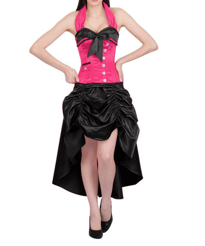 Phineas Magenta and Black Corset Dress with Halter Neck