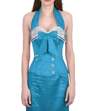 Horims Halter Neck Turquoise Overbust Corset