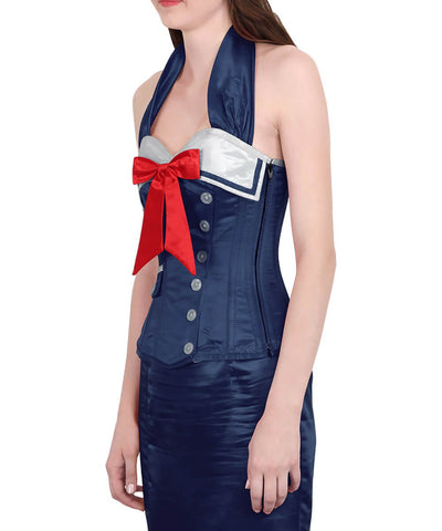 Katria Sailor Royal Blue Overbust Corset