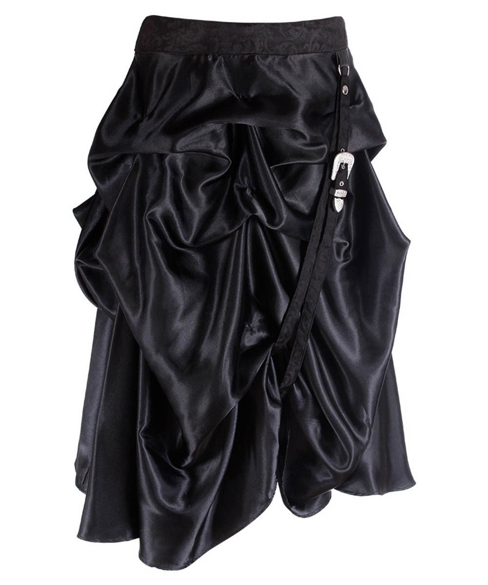 Joyce Black Goth Skirt with Ruched