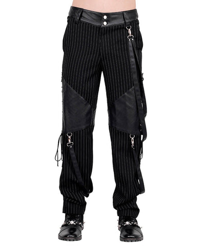 Barend Pinstripe Men's Trouser with Detachable Straps
