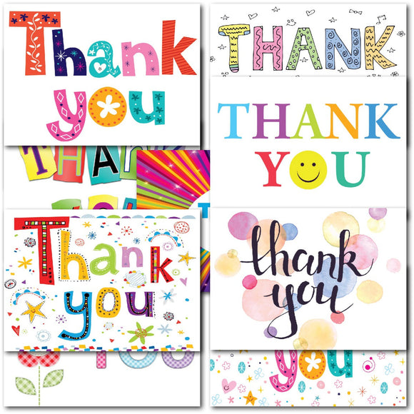 Pack of 20 Thank You Notecards Colourful Collection
