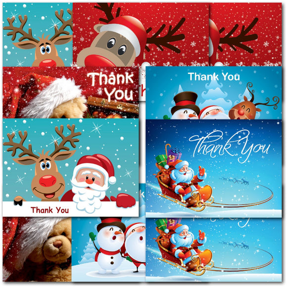 Pack of 20 Thank You Christmas Notecards