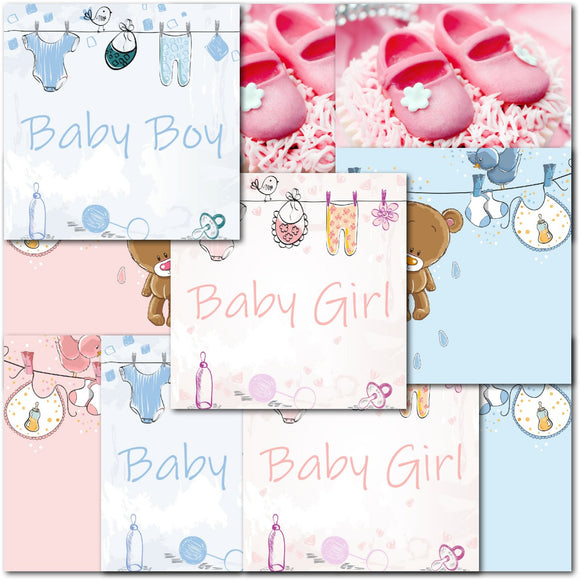 Doodlecards Pack of 10 Square Birth Congrat Boy & Girl Cards