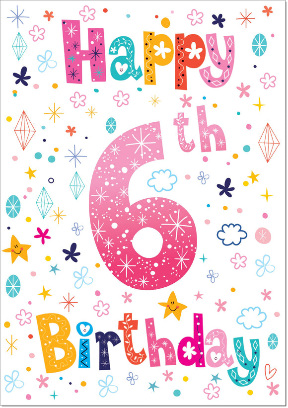 Doodlecards  6th Birthday Card - Medium