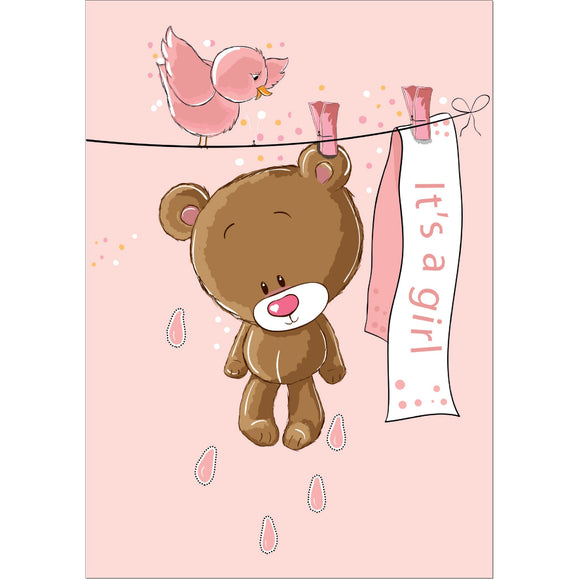 Doodlecards New Baby Girl Greeting Card - Medium