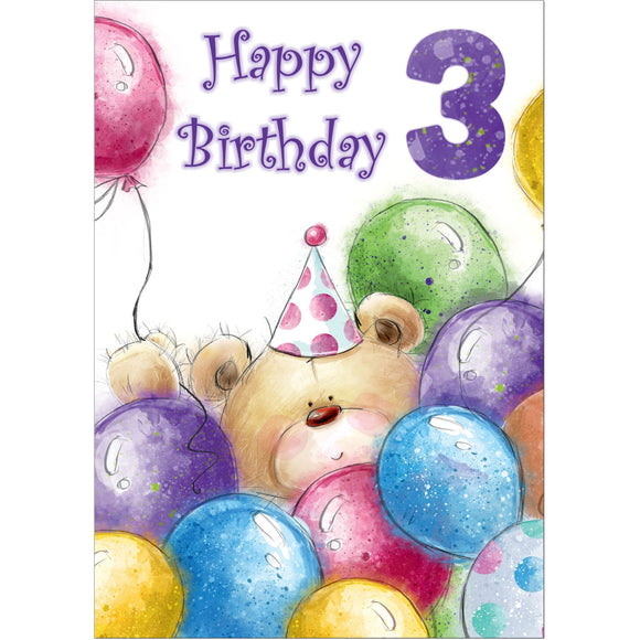 Doodlecards 3rd Birthday Card Age 3 - Medium