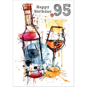 Doodlecards 95th Birthday Card Age 95 - Medium