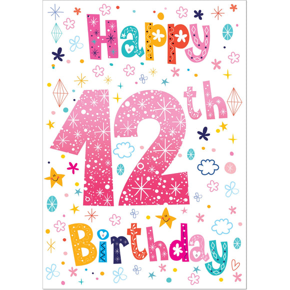 Doodlecards 12th Birthday Card Age 12 - Medium