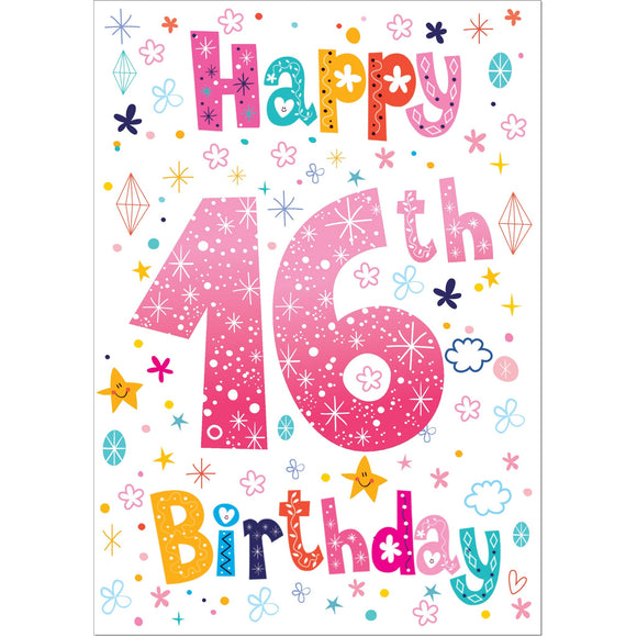 Doodlecards 16th Birthday Card Age 16 - Medium