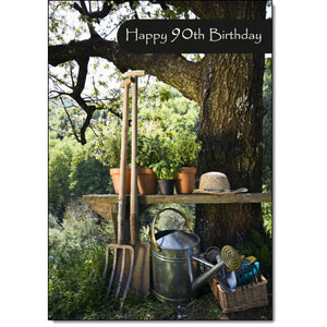 Doodlecards 90th Birthday Card Age 90 Gardening - Medium