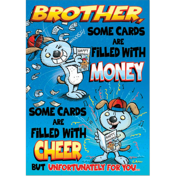 Doodlecards Funny Brother Birthday Card - Medium
