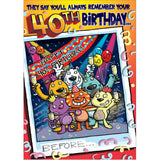 Doodlecards Funny 40th Birthday Card Age 40 - Medium