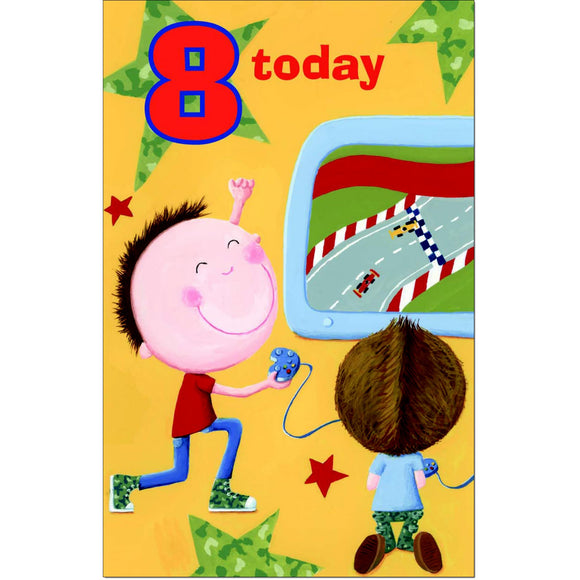Doodlecards 8th Birthday Boys Card Age 8 - Medium