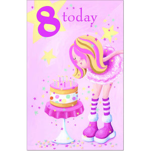 Doodlecards 8th Birthday Girls Card Age 8 - Medium