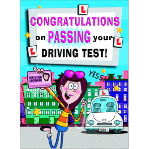 Doodlecards Funny Pass Driving Test Greeting Card - Medium