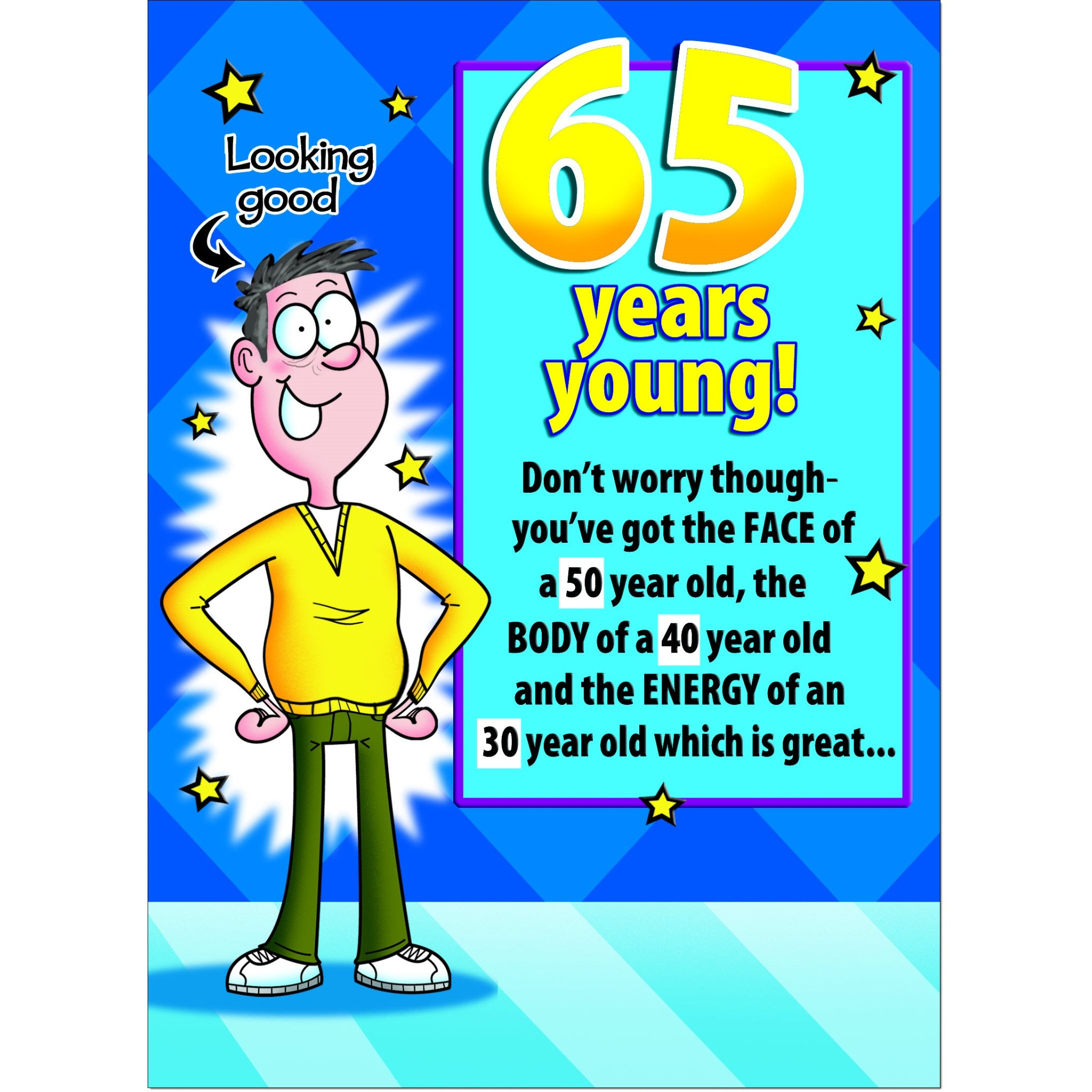 Doodlecards Funny 65th Birthday Card Age 65