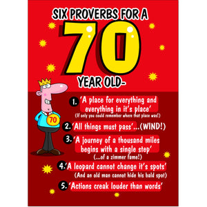 Doodlecards Funny 70th Birthday Card Age 70
