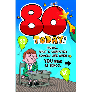 Doodlecards Funny 80th Birthday Card Age 80