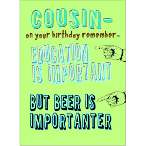Doodlecards Funny Cousin Birthday Card - Medium