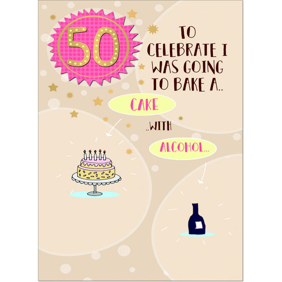 Doodlecards Funny 50th Birthday Card Age 50 - Medium