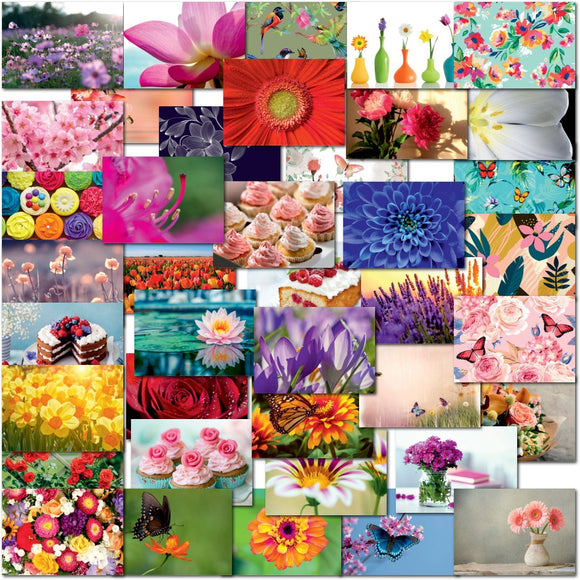 Pack of 40 Mixed Postcards All Different Flowers Butterflies Cakes